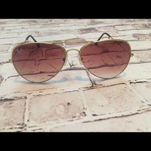 Rayban Aviator gold gradient sunglasses
